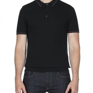 Ben Sherman Black Textured Knitted Polo Shirt mod