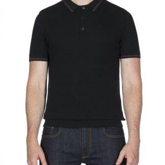 Ben Sherman Black Textured Knitted Polo Shirt mod