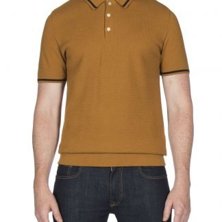 Ben Sherman Mustard Textured Knitted Polo Shirt mod
