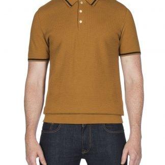 Ben Sherman Mustard Textured Knitted Polo Shirt mod